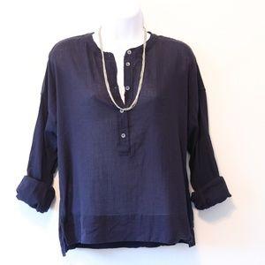 Anthro Lou & Grey Dark Blue Long Sleeve Button Top